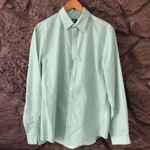 H&M Slim Fit Small Stripe Green Button Down Shirt